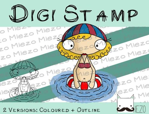 Digitaler Stempel, Digi Stamp Schwimmerin, 2 Versionen: Outlines, in Farbe