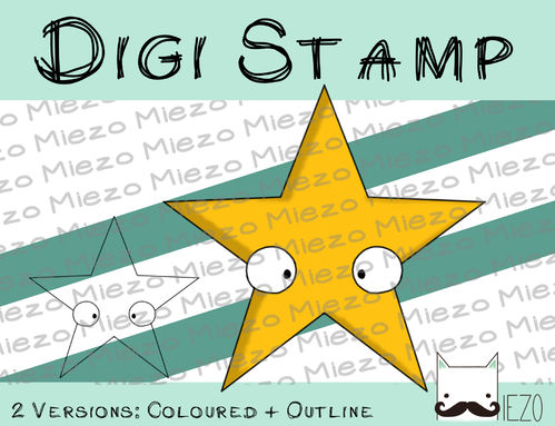 Digitaler Stempel, Digi Stamp Stern, 2 Versionen: Outlines, in Farbe