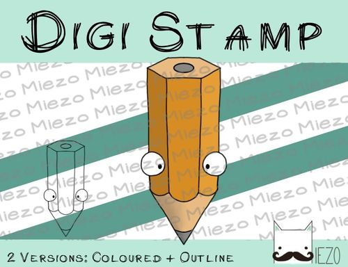 Digitaler Stempel, Digi Stamp Stift, 2 Versionen: Outlines, in Farbe