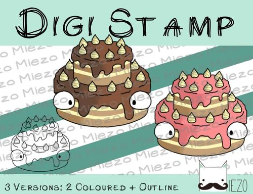 Digitaler Stempel, Digi Stamp Torte, 3 Versionen: Outlines, 2 in Farbe