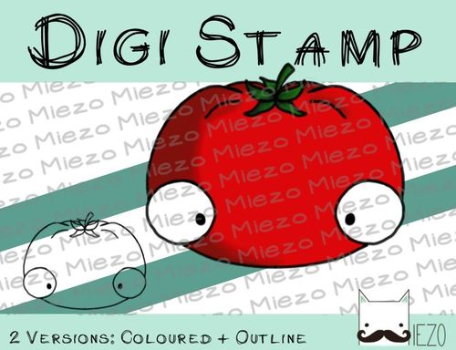 Digitaler Stempel, Digi Stamp Tomate, 2 Versionen: Outlines, in Farbe