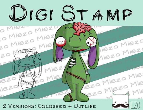 Digitaler Stempel, Digi Stamp Zombie-Hase, 2 Versionen: Outlines, in Farbe
