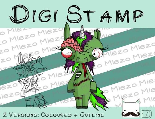 Digitaler Stempel, Digi Stamp Zombie-Einhorn, 2 Versionen: Outlines, in Farbe
