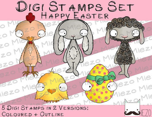 Digi Set Happy Easter je Stamp 2 Versionen: Outlines, in Farbe(Huhn, Schaf, Hase, Küken, Osterei)