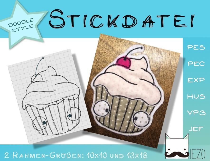 Cupcake - Stickdatei, Doodle, Embroidery-File, 2 Rahmengrößen: 10x10 ...