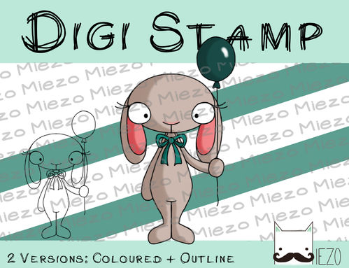 Digitaler Stempel, Digi Stamp Hase mit Luftballon, 2 Versionen: Outlines, in Farbe