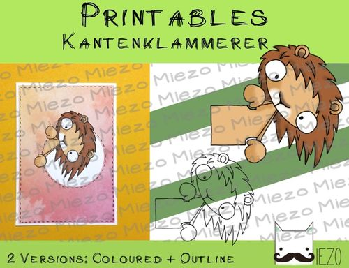 Printables Kantenklammerer Löwe , 2 Versionen: Outlines, in Farbe