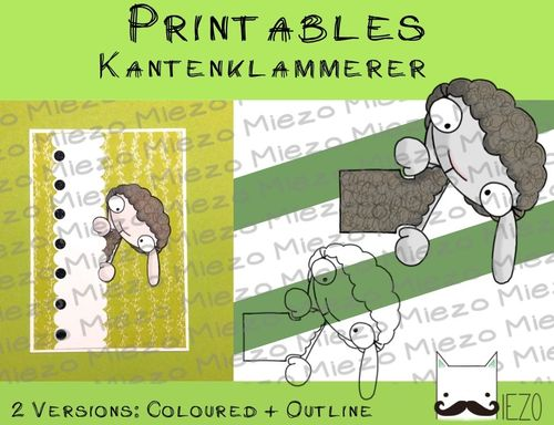 Printables Kantenklammerer Schaf , 2 Versionen: Outlines, in Farbe
