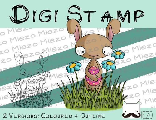 Digitaler Stempel, Digi Stamp Osterhase in Wiese, 2 Versionen: Outlines, in Farbe