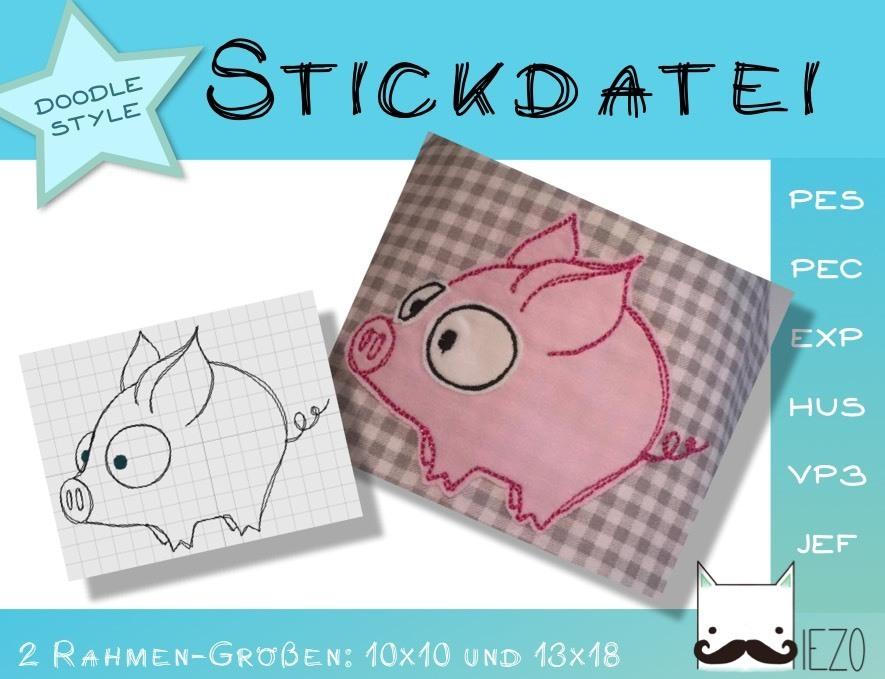 Ferkel - Stickdatei, Doodle, Embroidery-File, 2 Rahmengrößen: 10x10 ...