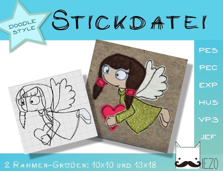 Engel - Stickdatei, Doodle, Embroidery-File, 2 Rahmengrößen: 10x10 ...