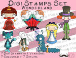 Digitale Stempel, Digi Stamps Set Alice im Wunderland, je 2 Versionen: Outlines, in Farbe
