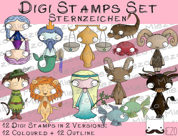 digi stamps set sternzeichen 2 versionen outlines in farbe miezo. Black Bedroom Furniture Sets. Home Design Ideas