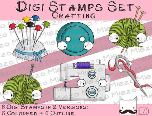 Digi Stamps Set Crafting , 2 Versionen: Outlines, in Farbe