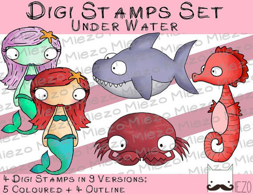 Digi Stamps Set Underwater , je 2 Versionen: Outlines, in Farbe