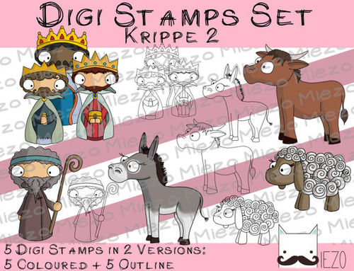 Digi Stamps Set Krippe 2, 2 Versionen: Outlines, in Farbe
