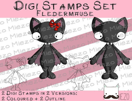 Digi Stamps Set Fledermäuse, 2 Versionen: Outlines, in Farbe