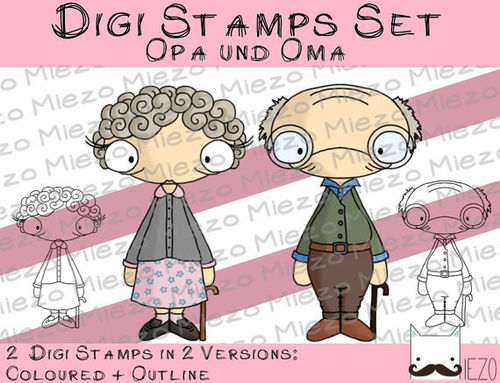 Digi Stamps Set Oma und Opa, 2 Versionen: Outlines, in Farbe