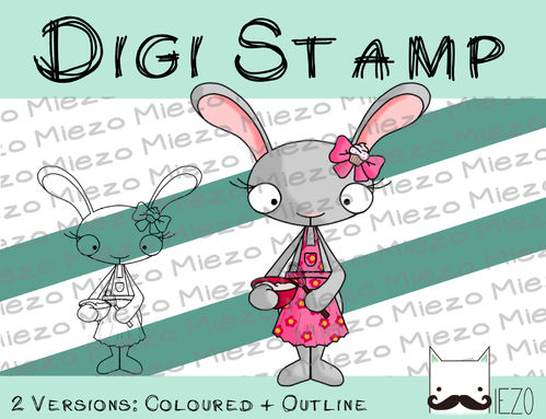 Digitaler Stempel, Digi Stamp Haushaltshase beim backen, 2 Versionen: Outlines, in Farbe