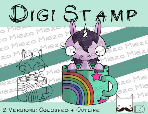 Digitaler Stempel, Digi Stamp Einhorn in der Tasse, 2 Versionen: Outlines, in Farbe