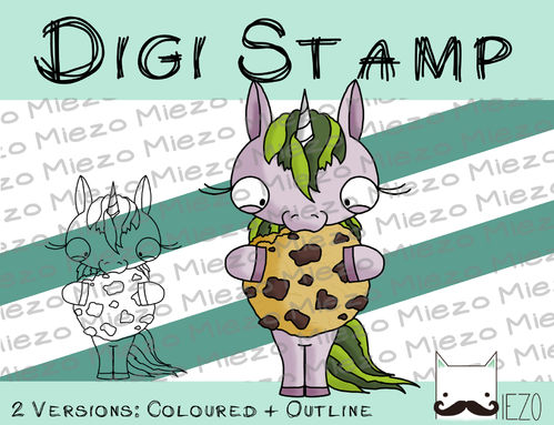 Digitaler Stempel, Digi Stamp Einhorn mit Keks, 2 Versionen: Outlines, in Farbe
