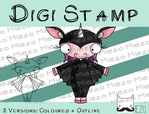 Digitaler Stempel, Digi Stamp Flederhorn, Oster-Einhorn, 2 Versionen: Outlines, in Farbe