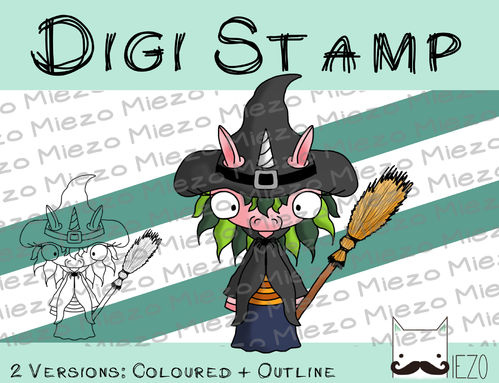 Digitaler Stempel, Digi Stamp Hexenhorn, Oster-Einhorn, 2 Versionen: Outlines, in Farbe