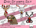 Digi Stamps Set Adventstiere (Dachs, Hase, Bär, Hirsch) je  2 Versionen: Outlines, in Farbe