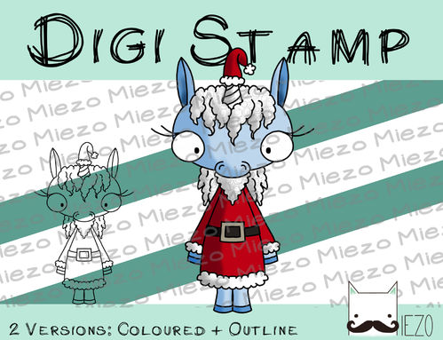 Digitaler Stempel, Digi Stamp Santa-Einhorn, 2 Versionen: Outlines, in Farbe