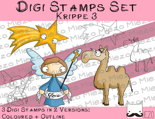 Digi Stamps Set Krippe 3, 2 Versionen: Outlines, in Farbe