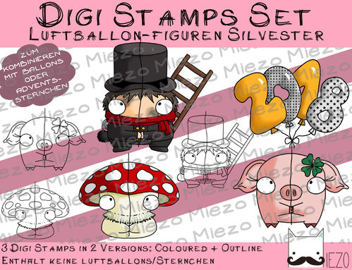 Set 2 Silvester-Luftballon-Figuren, Digi Stamps, je  2 Versionen: Outlines, in Farbe