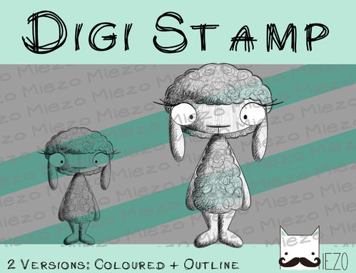 "Digitaler Stempel, Digi Stamp Scribble Schaf, 2 Versionen: Outlines, in ""Farbe"""