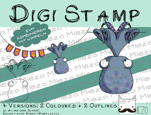 Digitaler Stempel, Digi Stamp Wimpeltier Oktopus, 2 Versionen: Outlines, in Farbe