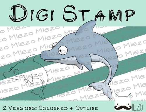 Digitaler Stempel, Digi Stamp Delphin, 2 Versionen: Outlines, in Farbe