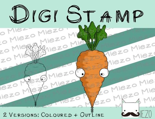 Digitaler Stempel, Digi Stamp Karotte, 2 Versionen: Outlines, in Farbe
