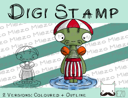Digitaler Stempel, Digi Stamp Badekroko, 2 Versionen: Outlines, in Farbe