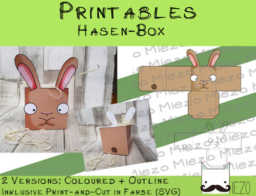 Printables Hasen-Box, 2 Version: bunt und Outlines, inklusive Print-and-Cut-Datei bunt (SVG)