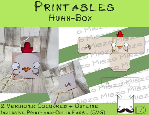 Printables Huhn-Box, 2 Version: bunt und Outlines, inklusive Print-and-Cut-Datei bunt (SVG)