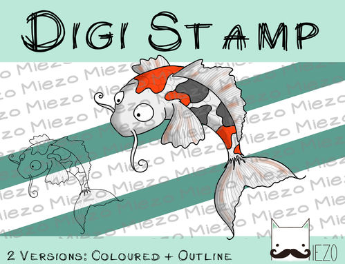 Digitaler Stempel, Digi Stamp Koi, 2 Versionen: Outlines, in Farbe