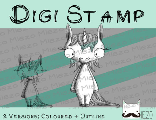 "Digitaler Stempel, Digi Stamp Scribble Einhorn, 2 Versionen: Outlines, in ""Farbe"""