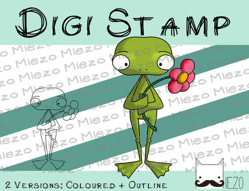 Digitaler Stempel, Digi Stamp Frosch mit Blume, 2 Versionen: Outlines, in Farbe
