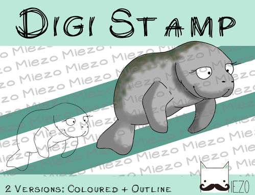 Digitaler Stempel, Digi Stamp Otter Seekuh, 2 Versionen: Outlines, in Farbe