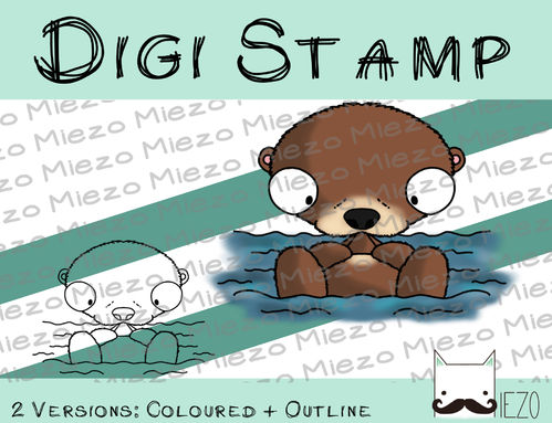 Digitaler Stempel, Digi Stamp Otter, 2 Versionen: Outlines, in Farbe