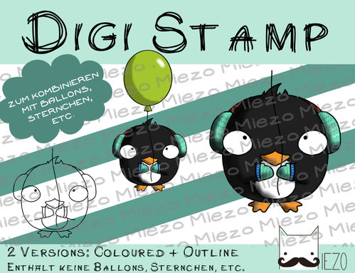Luftballon-Tier Digi Stamp Pinguin, 2 Versionen: Outlines, in Farbe