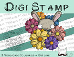 Digitaler Stempel, Digi Stamp Hase im Blütenmeer, 2 Versionen: Outlines, in Farbe