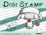 Digitaler Stempel, Digi Stamp Knirps Lamm weiß, 2 Versionen: Outlines, in Farbe