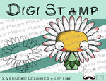 Digitaler Stempel, Digi Stamp Knirps Gänseblümchen, 2 Versionen: Outlines, in Farbe