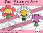 Digitaler Stempel Set, Digi Stamps Set Blumen-Knirpse , 2 Versionen: Outlines, in Farbe