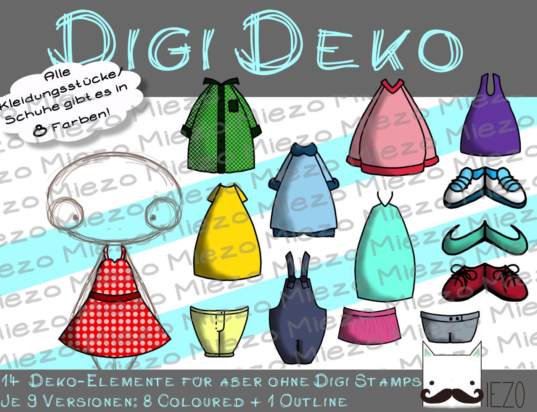 reputable site b5f46 92168 Digi Deko Kleidung/Schuhe, Accessoires für Digistamps , je 9 Versionen:  Outlines, 8 in Farbe