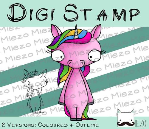 Digitaler Stempel, Digi Stamp Einhorn 2 Versionen: Outlines, in Farbe